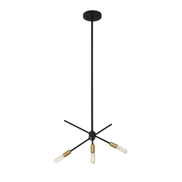 Lyrique 3 Light Chandelier Bronze w/ Brass Accents