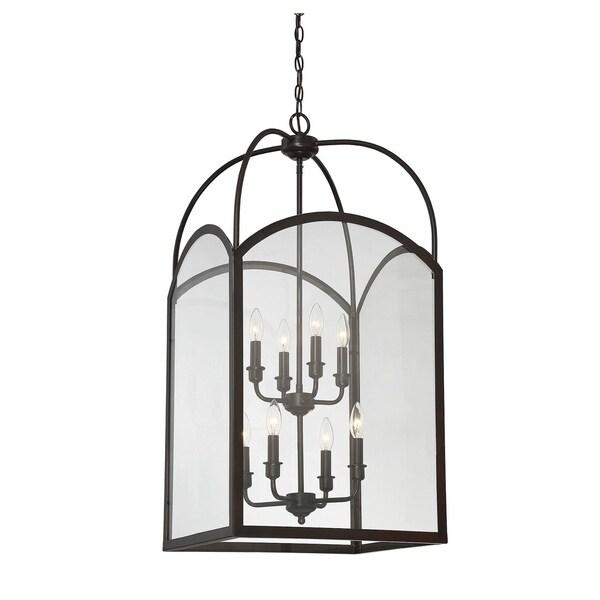 Savoy House Garrett English-bronze-finished Metal and Clear Glass 60-watt 8-light Foyer Light