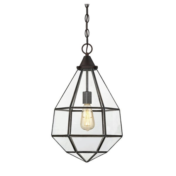 Savoy House Austen English Bronze-finished Metal Small 1-light Pendant with Clear Glass Shade