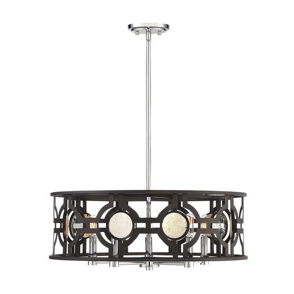Savoy House Chennal Bronze and Chrome With Antique Mirror Accents 5-light Pendant