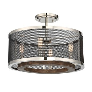 Savoy House Valcour Polished Nickel 4-light Semi-flush Fixture with Graphite Mesh Shade and Wood Accents