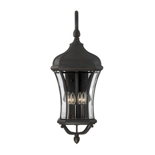 Realto Clear Beveled Glass Walnut Patina Finish Wall Lantern