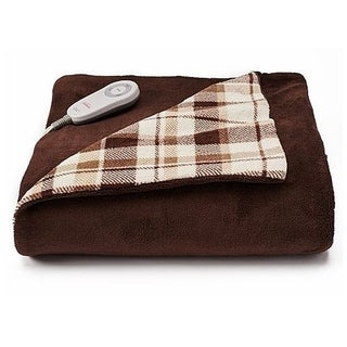 Sunbeam Microplush Comfy Toes Electric Heated Throw Blanket w Foot Pocket Plaid
