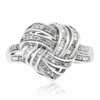 Sterling Silver 1/4ct Diamond Heart Ring, With Round and Baguette Stones (J-K, I1-I2) - White J-K