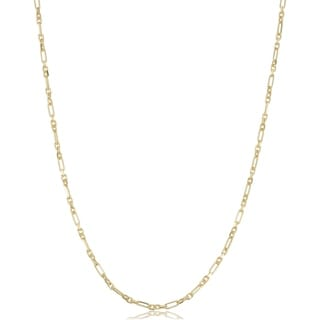 Fremada 14k Yellow Gold Figaro Forzatina Link Chain Necklace