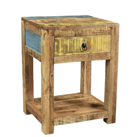 "Handmade Suman Solid Mango Wood End Table (India) - 20"" x 16"" x 26"""