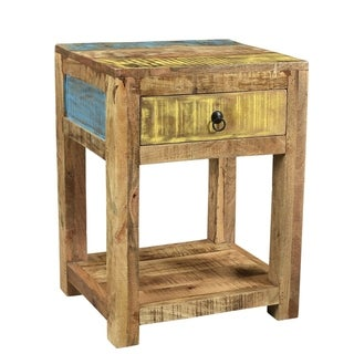 "Handmade Suman Solid Mango Wood End Table (India) - 20"" x 16"" x 26"""