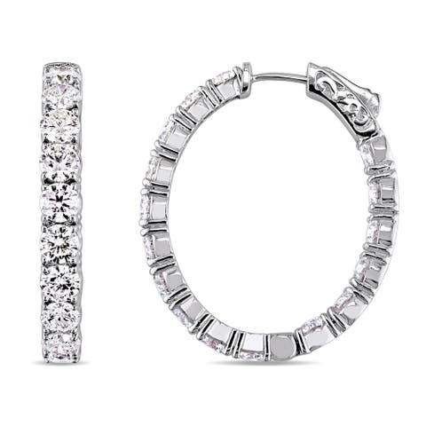 Miadora Signature Collection 14k White Gold 9 3/4ct TDW Certified Diamond Inside Outside Round Hoop Earrings (IGI)