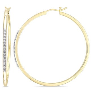 Miadora Yellow Plated Sterling Silver 1/6ct TDW Diamond Hoop Earrings