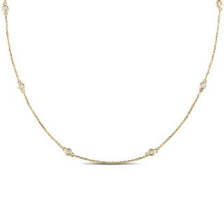 Miadora Signature Collection 14k Yellow Gold 1/4ct TDW Diamond Circle Station Necklace