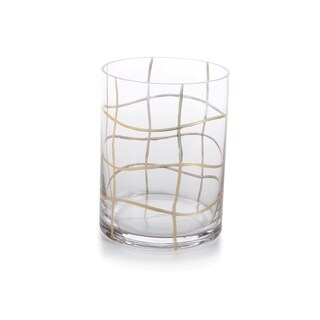 """6"""" Tall Glass Hurricane Candle Holder, Groove Design"""