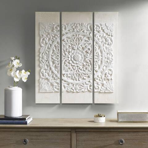 Madison Park Wooden Mandala White 3D Embellished Canvas
