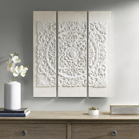 Madison Park Off White Mandala 3D Embellished Canvas - Off White