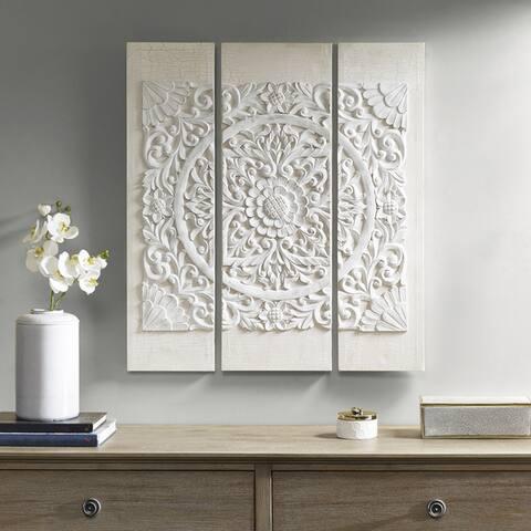 Madison Park White Mandala 3D Embellished Canvas