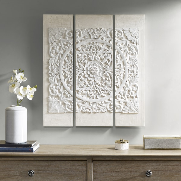 Madison Park Wooden Mandala White 3 D Embellished Canvas by Madison Park