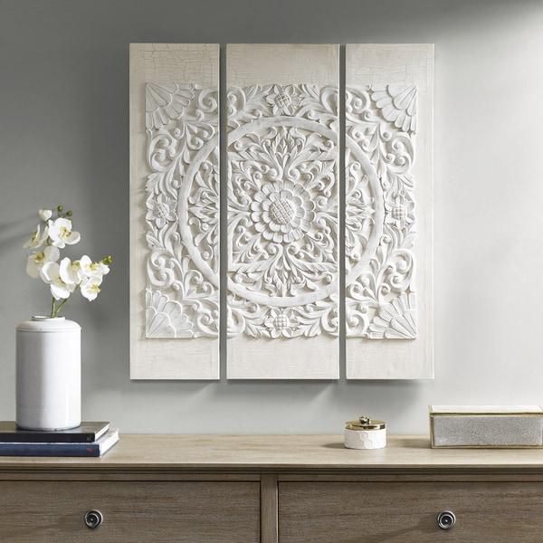 Shop Madison Park Wooden Mandala White 3D Embellished Canvas - Free ... 6ff29d051
