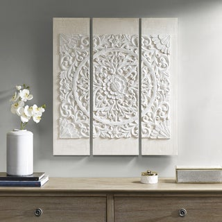 Madison Park Wooden Mandala White 3D Embellished Canvas