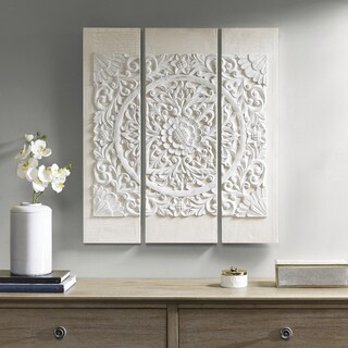 Madison Park Wooden Mandala White Printed Canvas With Accessories - Set Of 3