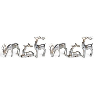 Reindeer Christmas Figurine Holiday Décor, Silver (Set of 6)