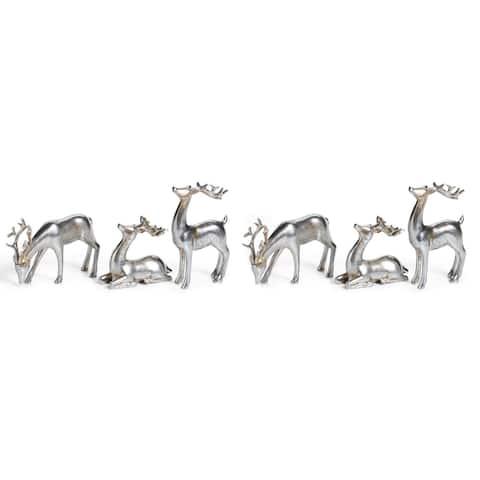 Reindeer Christmas Figurine Holiday Décor, Silver (Set of 6)