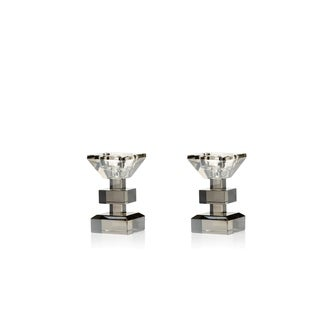 "4.25"" Tall Crystal Candle Holder, Smoke Color (Set of 2)"
