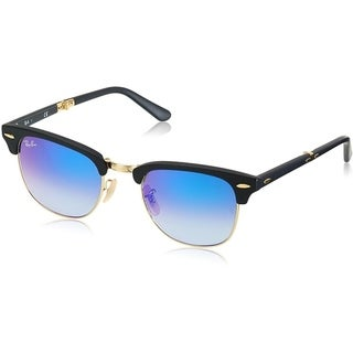 99d0616cab961 Shop Ray-Ban Clubmaster Folding Sunglasses Black Matte Blue Acetate -  RB2176-901S7Q-51 - Free Shipping Today - Overstock.com - 17372928