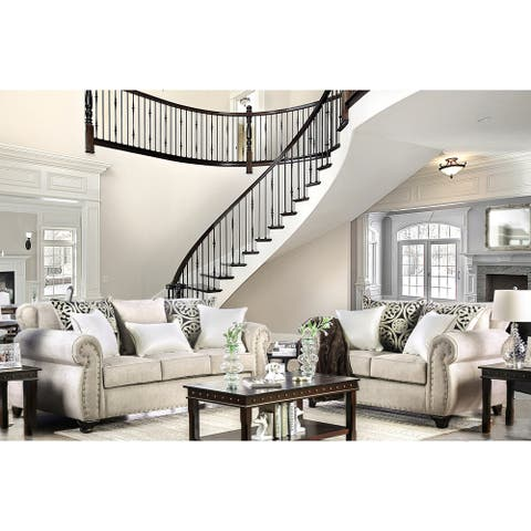 Furniture of America Sigg Contemporary Linen Padded 2-piece Sofa Set