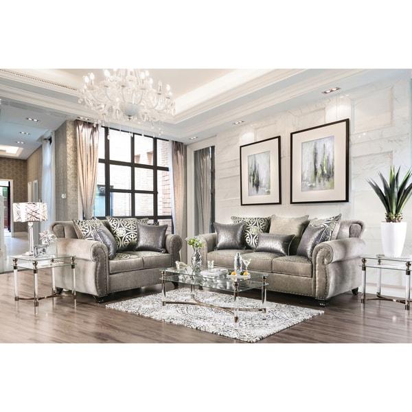 Shop Furniture Of America Daeler Classic 2 Piece Chenille Sofa Set