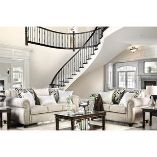 Furniture of America Daeler Classic 2-piece Chenille Sofa Set