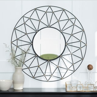 36-inch Round Geometric Frame Mirror with Gold Accents - Black/Gold