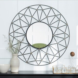 "35"" Round Geometric Frame Mirror with Gold Accents - Black/Gold - 35 x 3 x 35h"