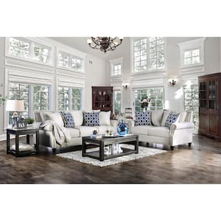 Furniture Of America Ferisen Contemporary 2 Piece Linen Like Sofa Set