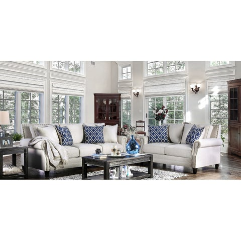 Furniture of America Ferisen Contemporary 2-piece Linen-like Sofa Set