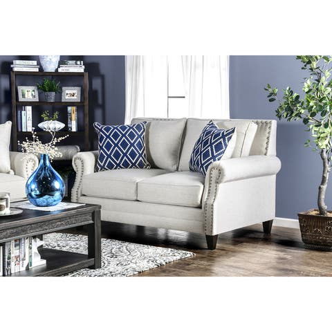 Furniture of America Deri Contemporary Linen Fabric Nailhead Loveseat