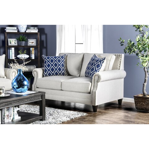 Furniture of America Ferisen Contemporary Linen-like Loveseat