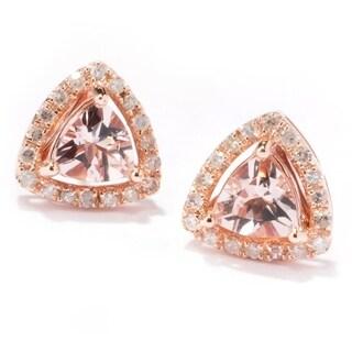Pinctore 10k Rose Gold Morganite & Diamond Trillion Stud Earrings - Peach