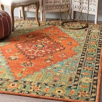 nuLoom Rust Traditional Southwestern Floral Tribal Medallion Rug (5' x 7'5) - 5' x 7'5""
