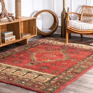 nuLOOM Red Traditional Vintage Abstract Tribal Symbols Area Rug