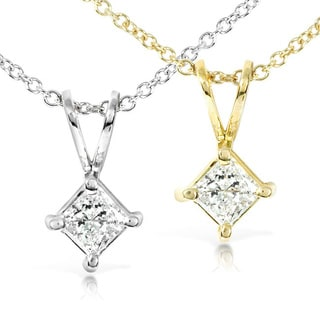 Annello by Kobelli 14k Gold 1/3ct Princess Diamond Solitaire Necklace (H-I, I1-I2)