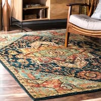 nuLOOM Traditional Vintage Tribal Floret Medallion Green Rug - 5' x 7'5