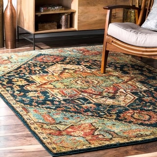 nuLOOM Green Traditional Vintage Tribal Floret Medallion Area Rug
