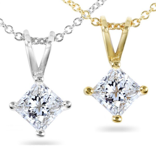 d9acbeaa97a2b Shop Annello by Kobelli 14k Gold 1/2-ct Princess Diamond Solitaire ...