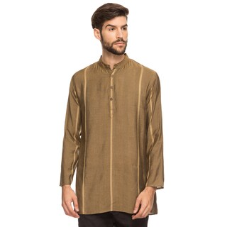 Handmade Shatranj Men's Indian Mandarin Collar Mid-Length Tunic Kurta With Dobby Stripe (India)
