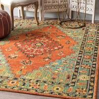 nuLoom Traditional Southwestern Floral Tribal Medallion Rust Rug (8' x 10') - 8' x 10'