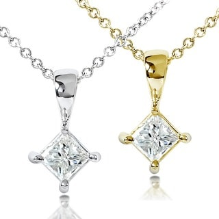 Annello by Kobelli 14k Gold 1/3ct TDW Princess Diamond Solitaire Pendant (H-I, SI1-SI2)