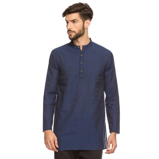 Shatranj Men's Indian Band Collar Mid-Length Tunic Kurta Micro Dobby Pattern