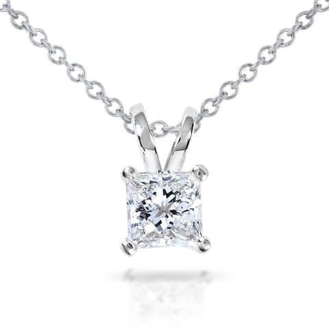 Annello by Kobelli 14k Gold 1/2ct Princess Diamond Solitaire Pendant