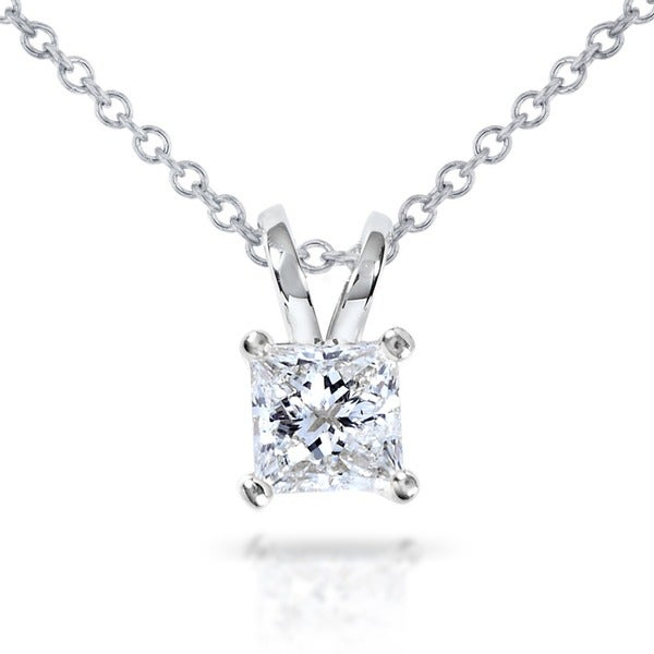 Annello 14k Gold 1/2ct Princess Diamond Solitaire Pendant