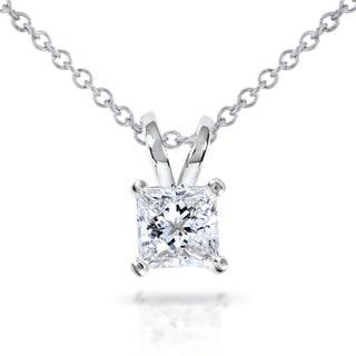 Annello by Kobelli 14k Gold 1/2ct Princess Diamond Solitaire Pendant (G-H, VS1-VS2)