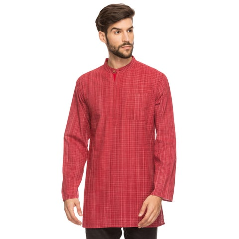 Handmade Shatranj Men's Indian Mandarin Collar Mid-length Tunic Kurta Space-Dye Checks (India)